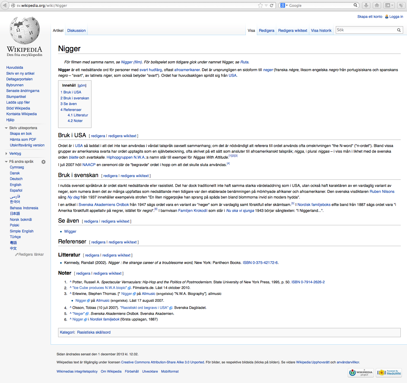 Wikipedia art. 'Nigger'