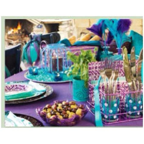 Teal/turquoise and purple party decorations   Wedding