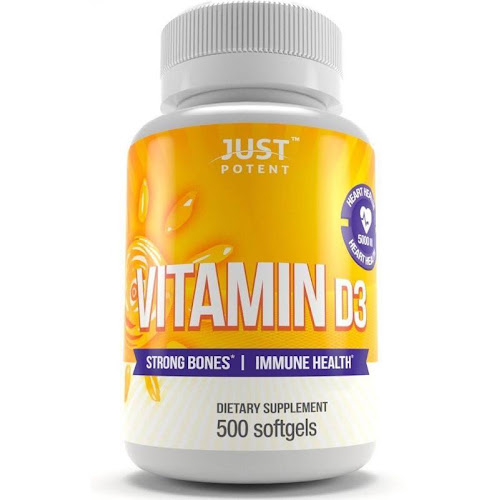 Vitamin D3 Supplement by Just Potent :: 500 Softgels :: 5000 IU :: Strong Bones