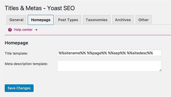 Homepage title and meta description