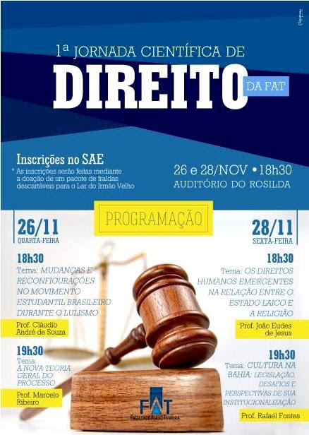 Jornada Científica de Direito da FAT começa nesta quarta-feira; veja programação