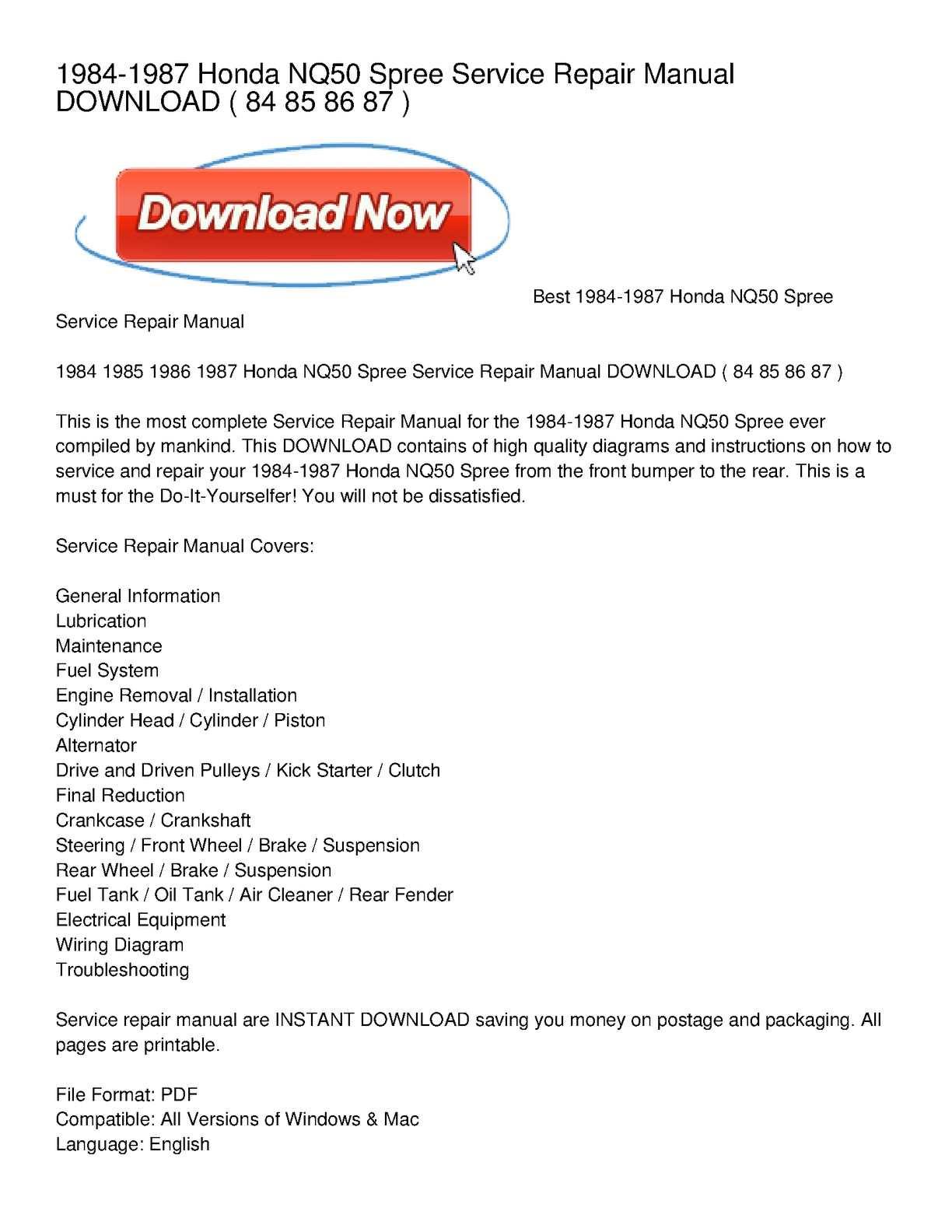 5915a5 Ebook 2785 Honda Spree Nq50 Service Repair Manual 1984 1987 2019 Wiring Library