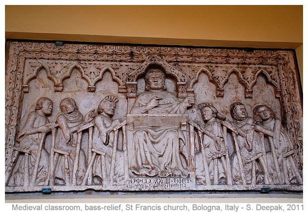 Terracotta bass relief at st Francis church in Bologna, Italy - images by S. Deepak