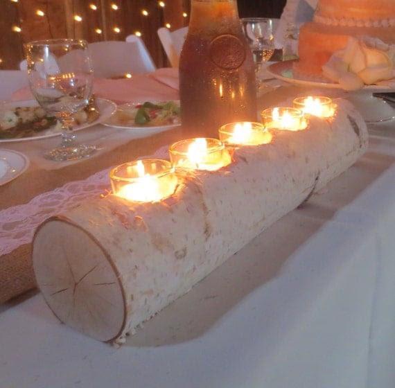 Birch Log Votive Light Candle Holder Wedding by ...