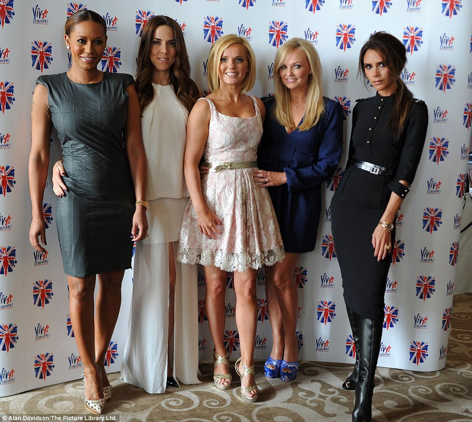 Reunited! (L-R) Melanie Brown, Melanie Chisholm, Geri Halliwell, Emma Bunton and Victoria Beckham reunite for the Viva Forever! launch at St Pancras Renaissance Hotel in London
