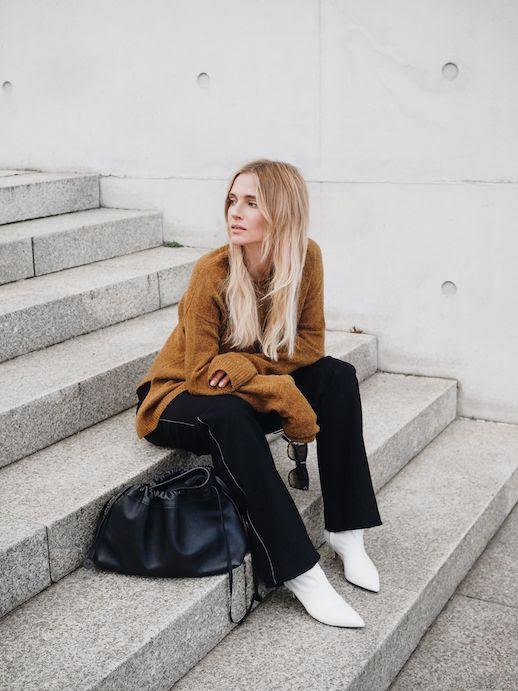 Le Fashion Blog Minimal Sleek Khaki Wool Sweater Black Wide Leg Pants White Heeled Leather Boots Via Mijaflatau