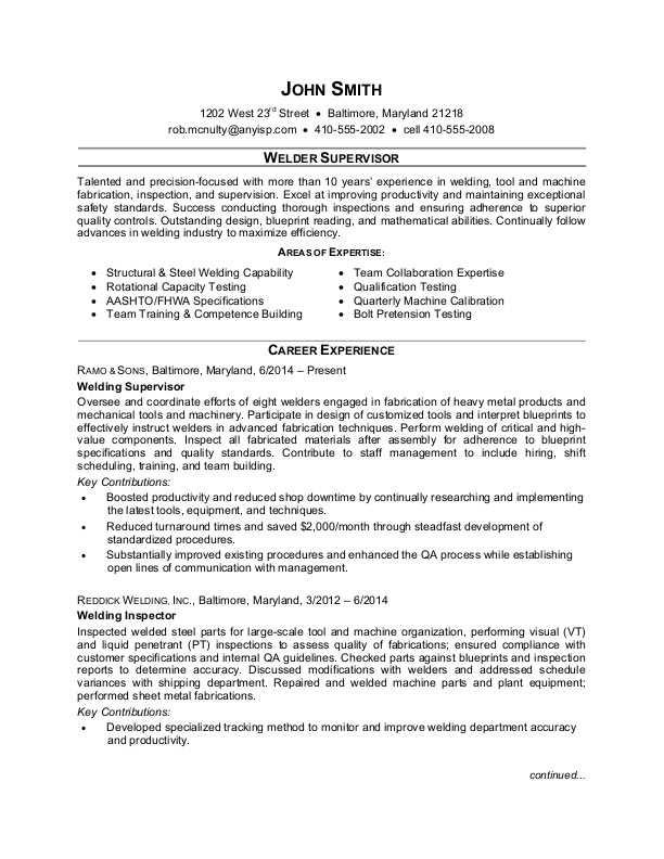 welder supervisor sample resume