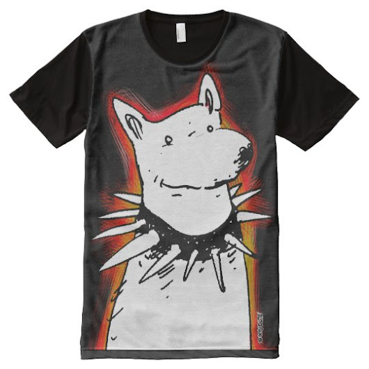 white dog cartoon style illustration black bg All-Over-Print shirt