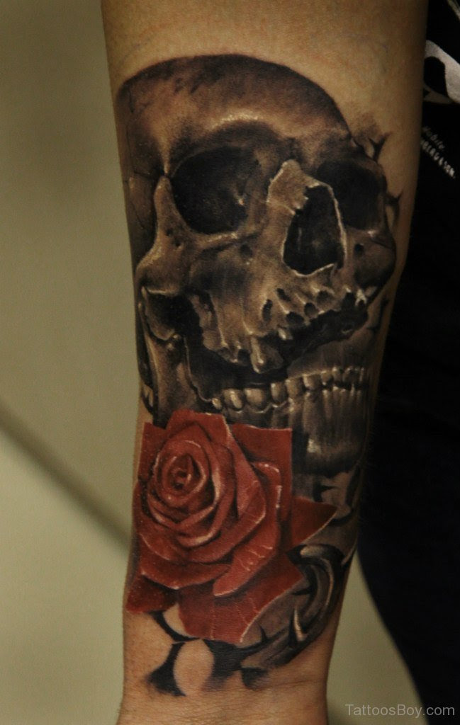 Skull And Rose Tattoo On Wrist Tattoo Designs Tattoo Pictures