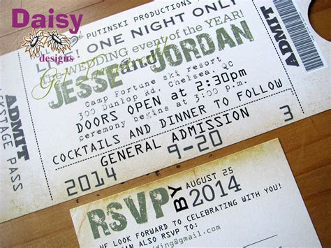Concert Ticket Wedding Invitation by Daisy Designs