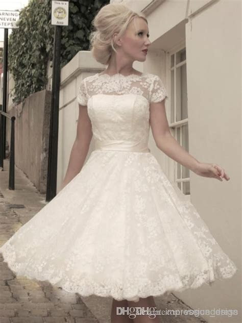 2014 High Quality Cheap vintage wedding dresses lace Short