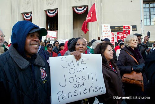 Detroit workers, retirees and community activists protest the forced bankruptcy of the city on October 23, 2013 outside federal court. by Pan-African News Wire File Photos