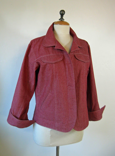Red denim jacket front view