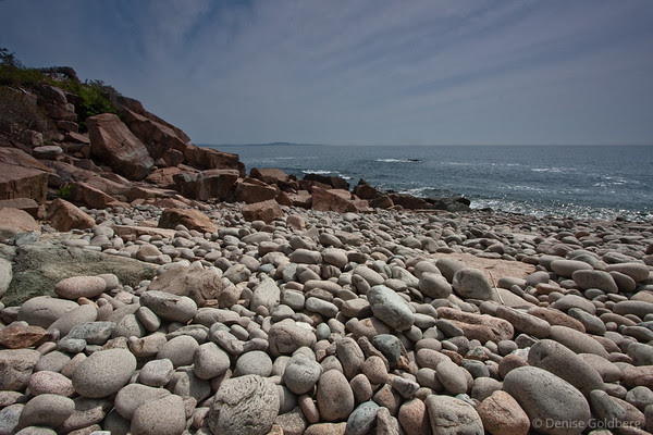 beach of rounded rocks