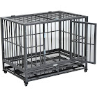 Pawhut Heavy Duty Steel Dog Crate Kennel Pet Cage with Wheels, Gray