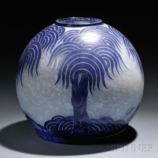 Vases – Home Decor : Le Verre Francais Cameo Glass Palmier Bleus Vase, Designed by Charles Schneider,... - Decor Object | Your Daily dose of Best Home Decorating Ideas & interior design inspiration