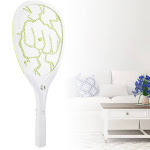 Electric Bug Zapper Swatter Racket Reachargeable Mosquito Fly Killer US Plug(Green)