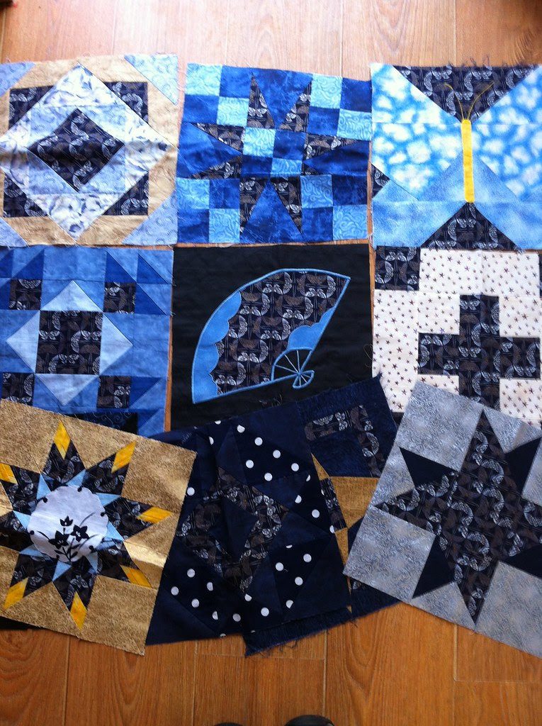 Blue and Gold quilt blocks