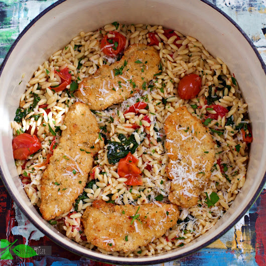 Chicken with Orzo, Spinach, Tomatoes