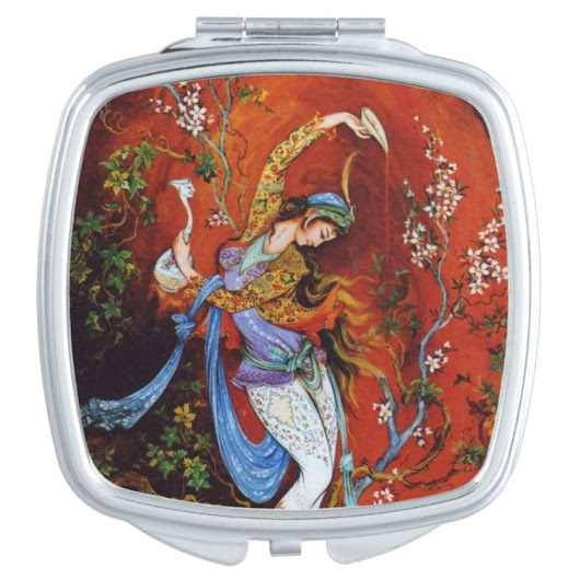 Persian Miniature Dancing Nymph Travel Mirrors