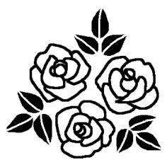 バラ2白黒花のモチーフ図案の無料イラストミニカットクリップ