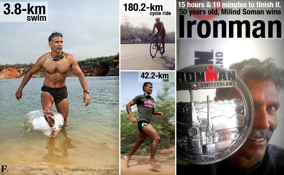 Milind Soman wins Ironman title. Source: facebook.com/MilindRunning