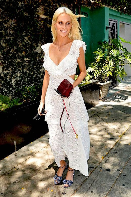 Le Fashion Blog Poppy Delevingne White Eyelet Dress Gingham Sandals Via Who What Wear