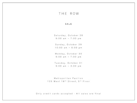 The Row Private Sale, October 28–31, The Level at Metropolitan Pavilion