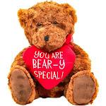 Valentine's Day Teddy Bear with Red Heart, Soft Plush Toy for Wedding Birthday Girlfriend Boyfriend Wife Husband Kids, 10 Inches, Brown