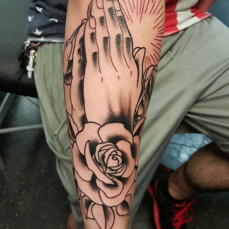 Unique Idea Of Traditional Praying Hand Tattoo For Forearm Parryzcom