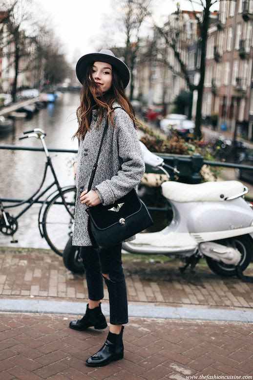 Le Fashion Blog Blogger Style Cropped Jeans Leather Chelsea Boots Wool Coat Fedora Hat Via The Fashion Cuisine