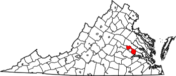 Map of Virginia highlighting Henrico County