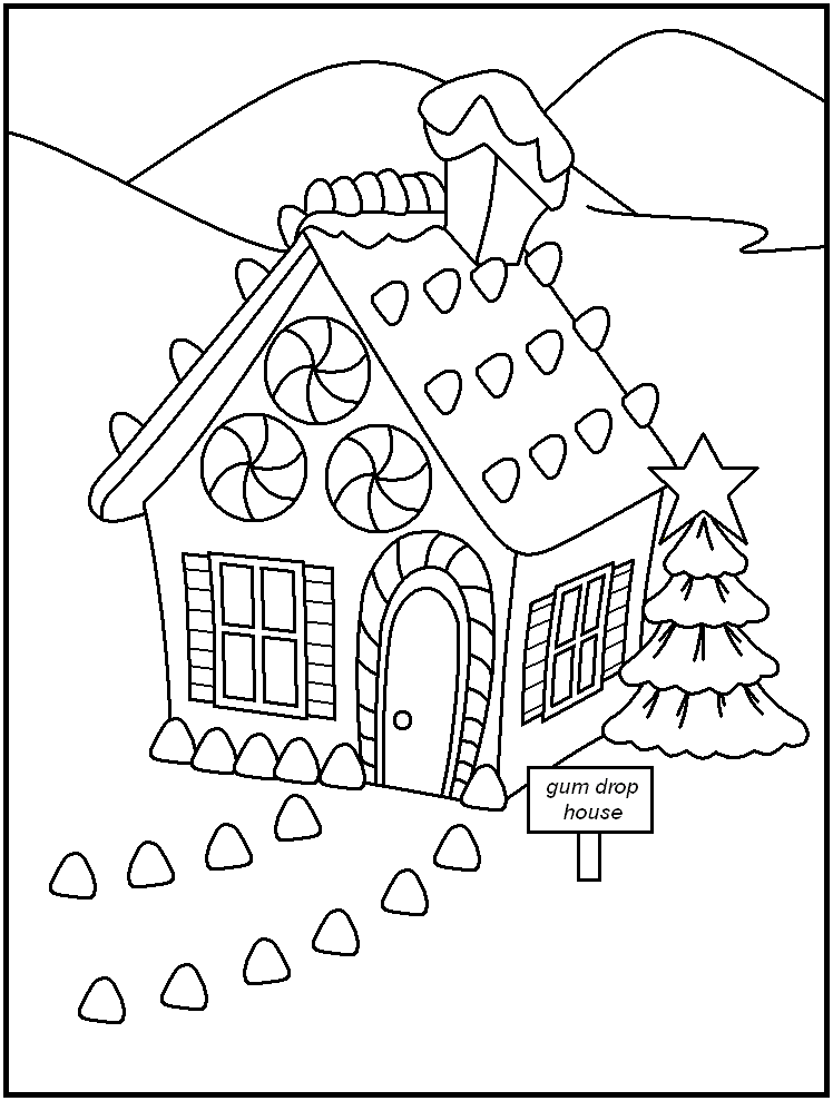 Christmas Gingerbread House Coloring Pages - Coloring Home