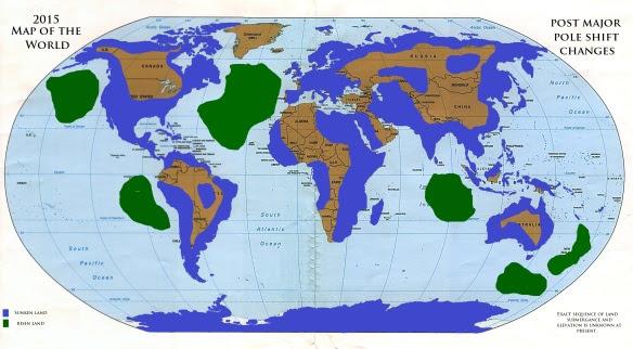 Existem mapas sugerindo uma nova configuração dos continentes depois da inversão magnética.
