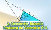 Problema de Geometría 914 (English ESL): Triangulo, Ortocentro, Bisectriz Interior, Exterior, Paralela, Punto Medio