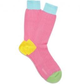 Richard James Panelled Ribbed Cotton Socks