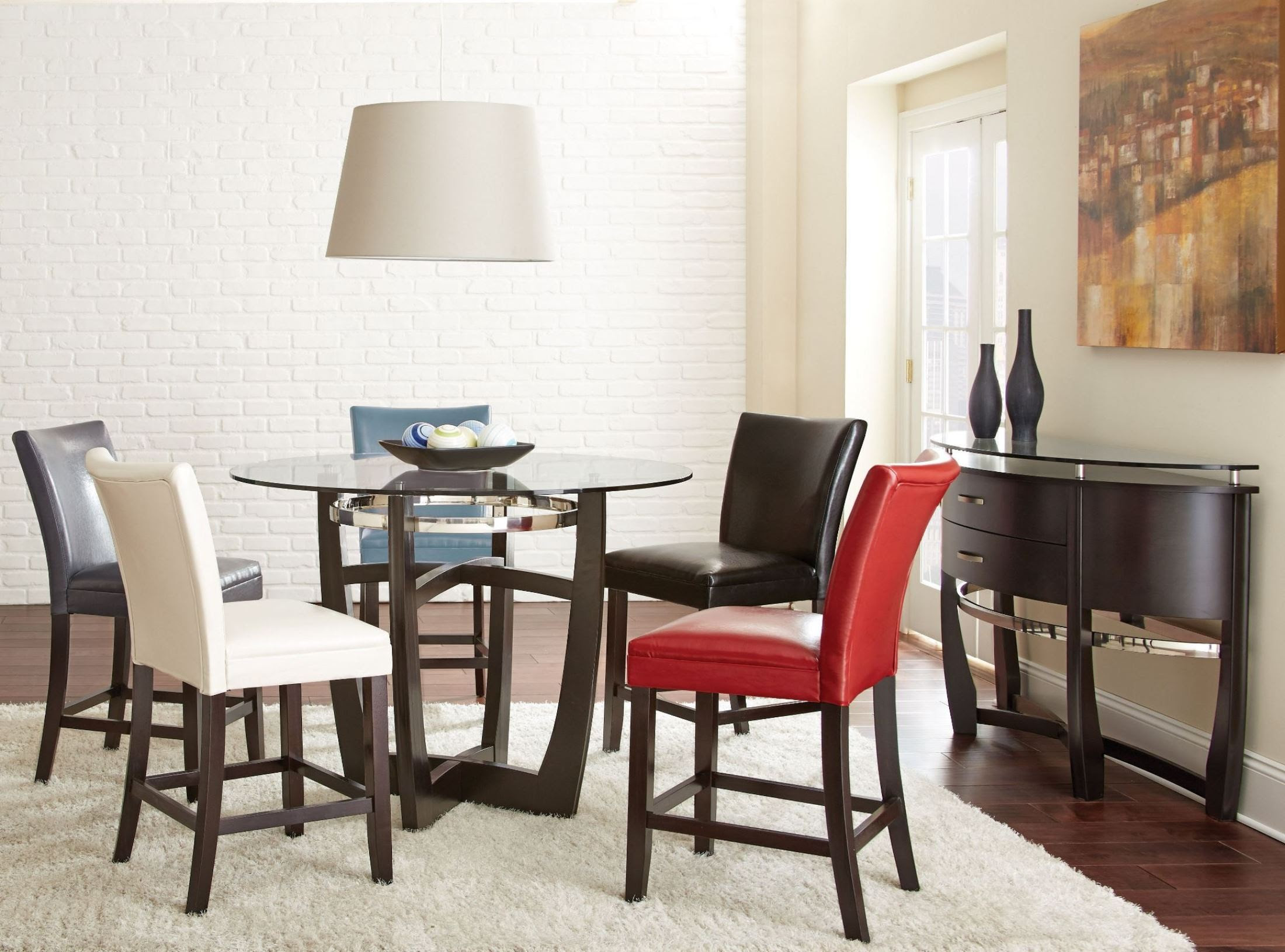 Matinee Glass Top Round Counter Height Dining Room Set ...