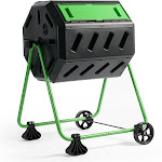 Hot Frog 37 gal. Mobile Dual-Chamber Compost Tumbler