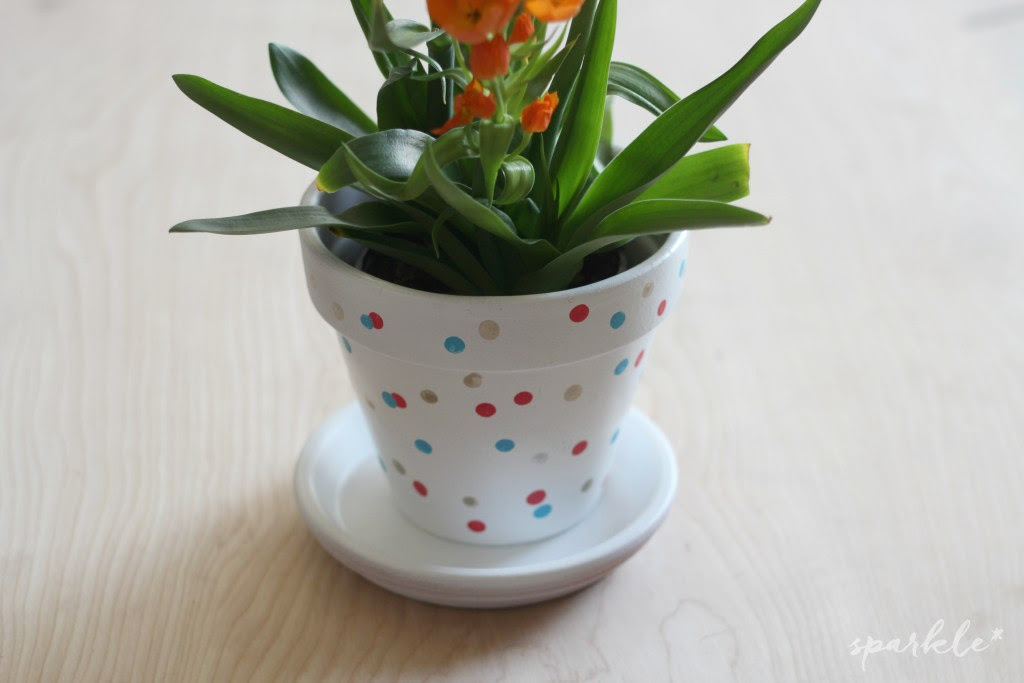 Sparkle Living Hand Painted Confetti Flower pot With a terracotta post, some acryclic paints and a pencil eraser you can make this cute polka dot pot for your plants