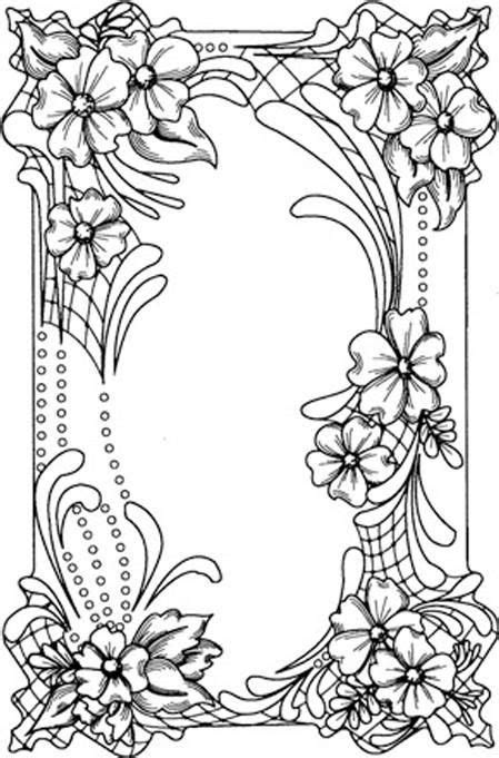 Free Coloring Page Flower Border Creative Art
