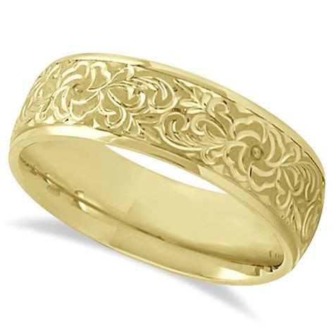 Hand Engraved Flower Wedding Ring Wide Band 18k Yellow