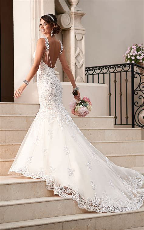 Satin & Lace Fit and Flare Wedding Dress   Stella York