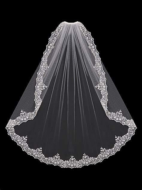 Bridal Veil of Silver Embroidered Lace with Beads and