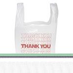 Inteplast Group Thank You Handled T-Shirt Bags 11 1/2 x 21 Polyethylene White