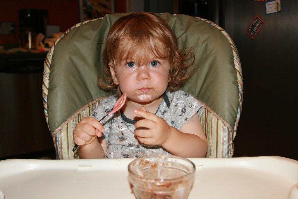 Oliver eating Turkey Soup!