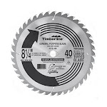 Timberline 215-400 Carbide Tipped General Purpose 8-1/4 Inch D x 40T ATB, 20 Deg, 5/8 Diamond knockout Bore, Circular Saw Blade