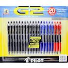 Pilot G2 Premium Gel Rouleau Stylos - Ensemble de 20 - Noir Bleu Rouge