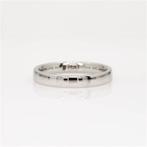 Low Dome Comfort Fit Wedding Ring in Platinum (3mm)   Blue