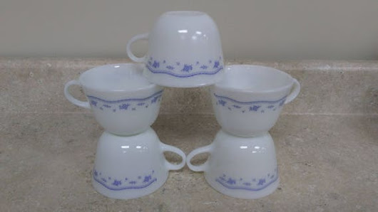 Set of 5 Vintage Morning Blue Milk Glass Pyrex Coffee Cups