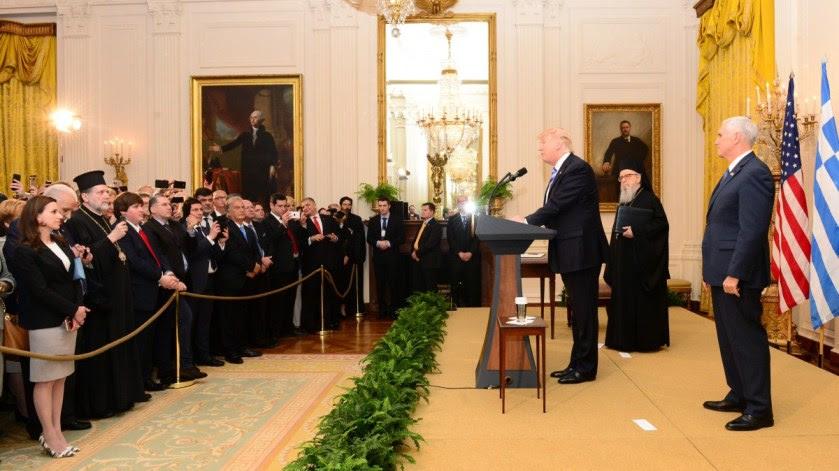 File Photo: Ο Αρχιεπίσκοπος Αμερικής Δημήτριος (Α), ομιλεί κατά την καθιερωμένη δεξίωση για την εθνική επέτειο της 25ης Μαρτίου 1821 και την Ημέρα της Ελληνικής Ανεξαρτησίας που παρέθεσαν ο Πρόεδρος των Η.Π.Α., Ντόναλντ Τραμπ (Κ) και ο Αντιπρόεδρος των Η.Π.Α., Μάικ Πενς (Δ), προς τιμήν της Ελληνοαμερικανικής κοινότητας στον Λευκό Οίκο στην Ουάσινγκτον, Η.Π.Α. ΑΠΕ-ΜΠΕ,  GANP, ΔΗΜΗΤΡΗΣ ΠΑΝΑΓΟΣ